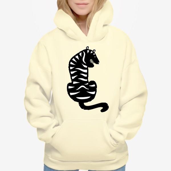 Худи «Тигр. Новый год 2022. Амурский тигр. Минималистичный дизайн. Стильный черно-белый принт. Для мальчиков и мужчин. Полоски»