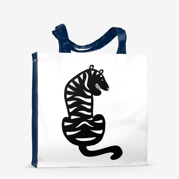 Сумка-шоппер «Тигр. Новый год 2022. Амурский тигр. Минималистичный дизайн. Стильный черно-белый принт. Для мальчиков и мужчин. Полоски»