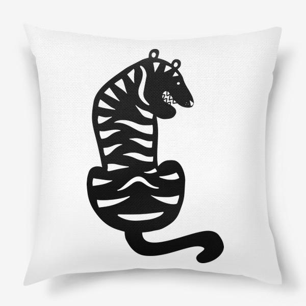 Подушка «Тигр. Новый год 2022. Амурский тигр. Минималистичный дизайн. Стильный черно-белый принт. Для мальчиков и мужчин. Полоски»