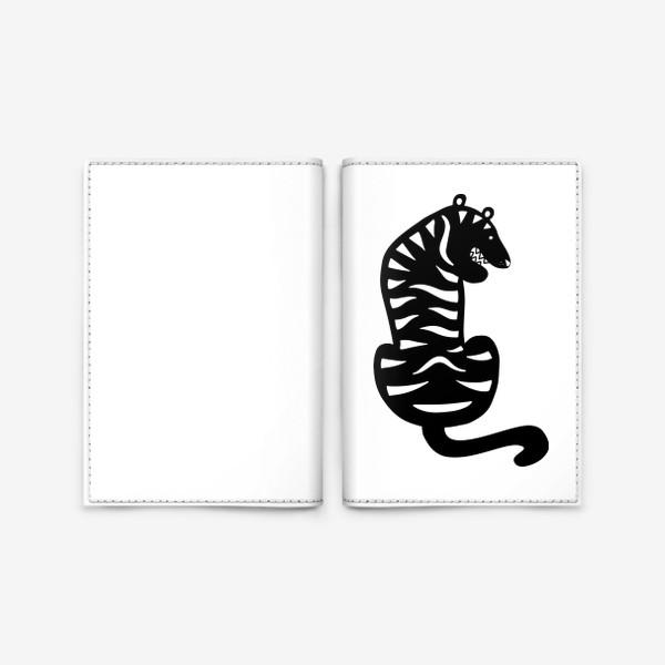 Обложка для паспорта «Тигр. Новый год 2022. Амурский тигр. Минималистичный дизайн. Стильный черно-белый принт. Для мальчиков и мужчин. Полоски»