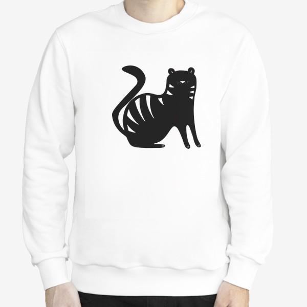 Свитшот «Тигр. Новый год 2022. Амурский тигр. Минималистичный дизайн. Стильный черно-белый принт. Для мальчиков и мужчин. Полоски»