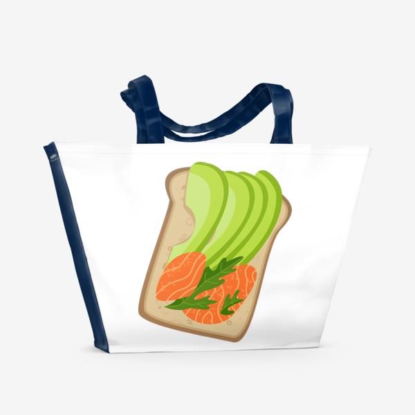 Пляжная сумка «Бутерброд с семгой и авокадо»