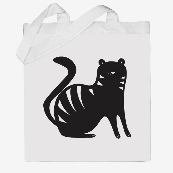 Сумка хб «Тигр. Новый год 2022. Амурский тигр. Минималистичный дизайн. Стильный черно-белый принт. Для мальчиков и мужчин. Полоски»