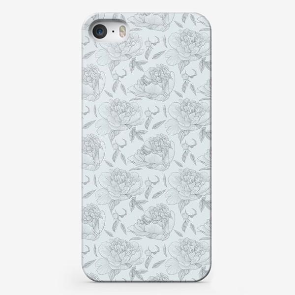 Чехол iPhone «пион голубой фон»