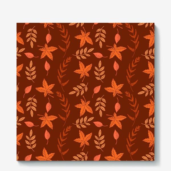 Холст «Осенние листья на коричнево красном»