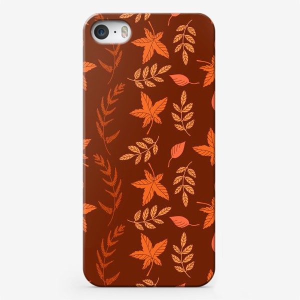Чехол iPhone «Осенние листья на коричнево красном»