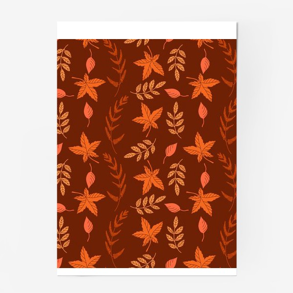 Постер «Осенние листья на коричнево красном»