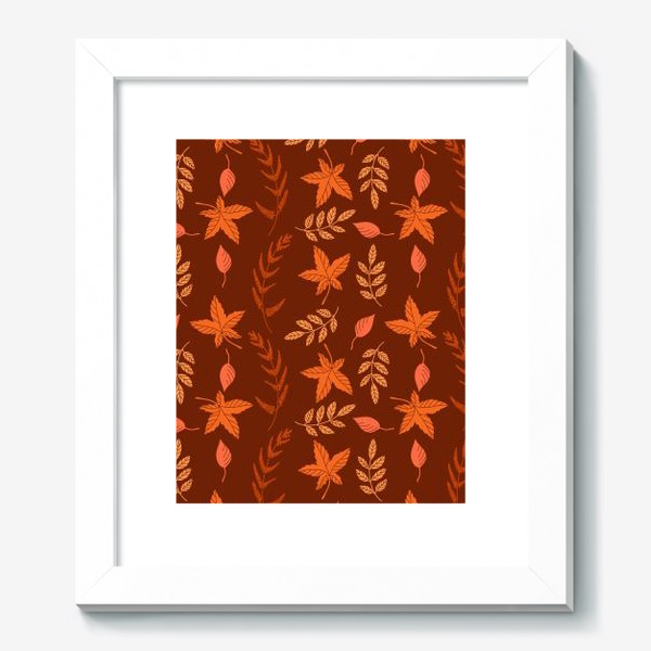 Картина «Осенние листья на коричнево красном»