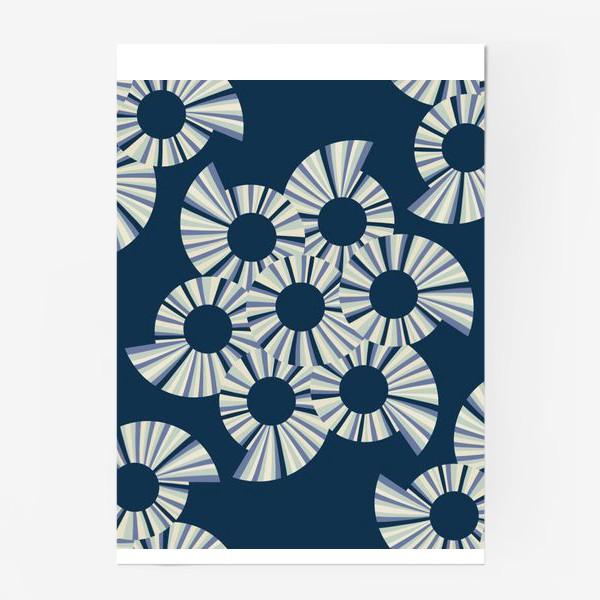 Постер «Абстрактные круги на темно синем фоне»