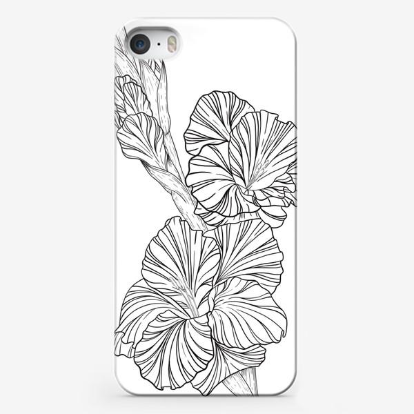 Чехол iPhone «Гладиолусы. Графика.»