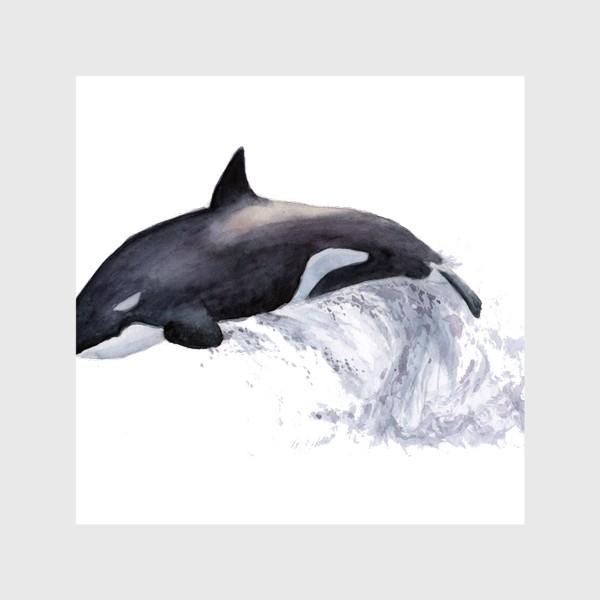 Шторы «Рыба Косатка выпрыгивает из воды»