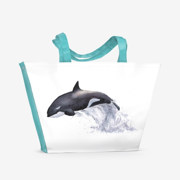 Пляжная сумка «Рыба Косатка выпрыгивает из воды»