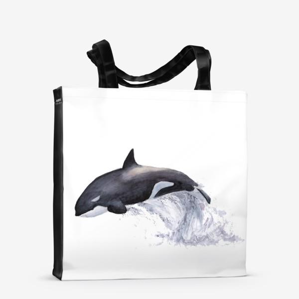 Сумка-шоппер «Рыба Косатка выпрыгивает из воды»