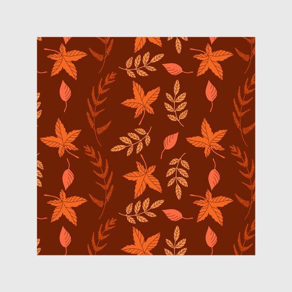 Шторы «Осенние листья на коричнево красном»