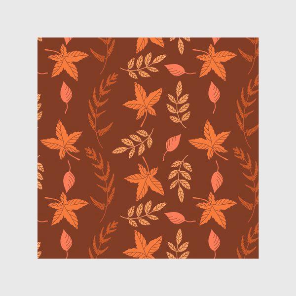 Скатерть «Осенние листья на коричнево красном»