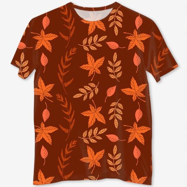 Футболка с полной запечаткой «Осенние листья на коричнево красном»