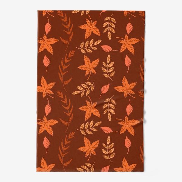 Полотенце «Осенние листья на коричнево красном»