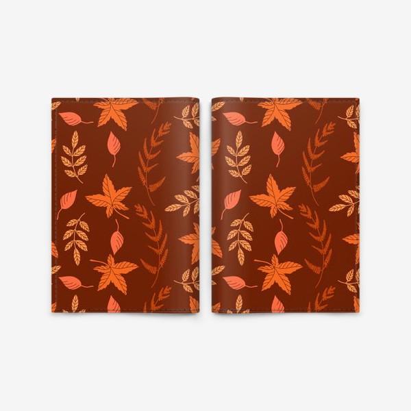 Обложка для паспорта «Осенние листья на коричнево красном»