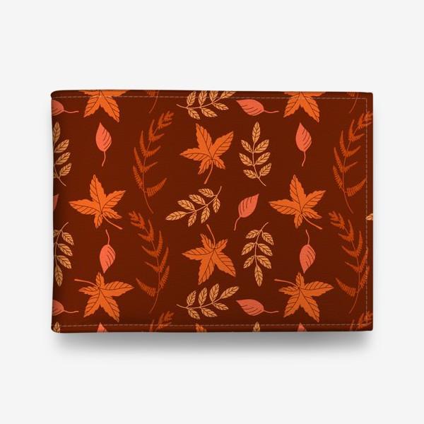 Кошелек «Осенние листья на коричнево красном»