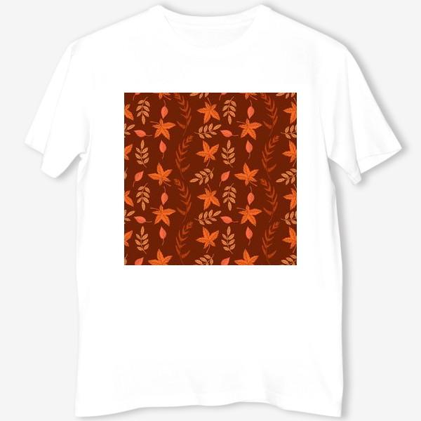 Футболка «Осенние листья на коричнево красном»