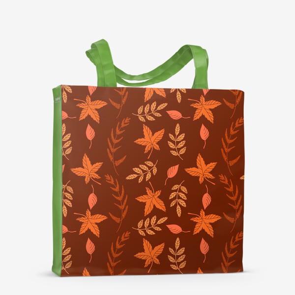 Сумка-шоппер «Осенние листья на коричнево красном»