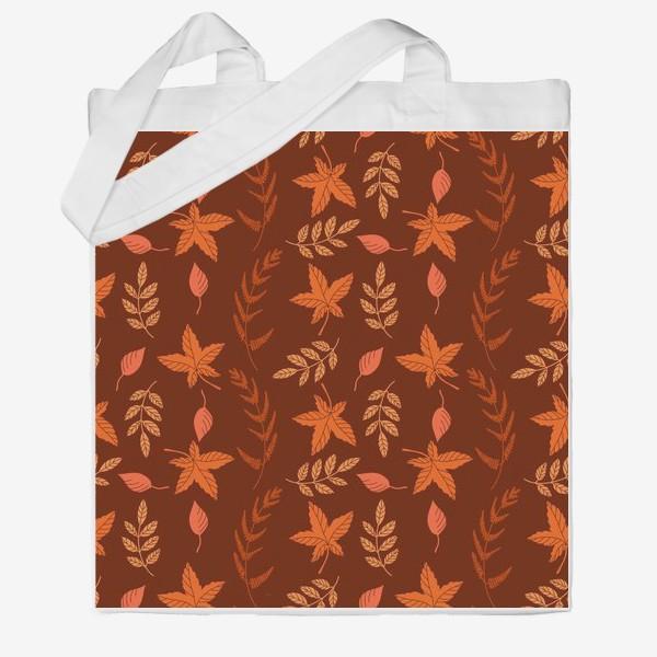 Сумка хб «Осенние листья на коричнево красном»