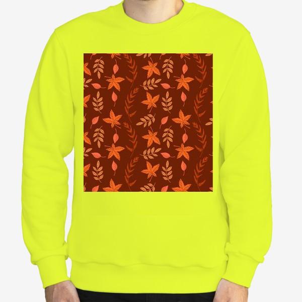 Свитшот «Осенние листья на коричнево красном»