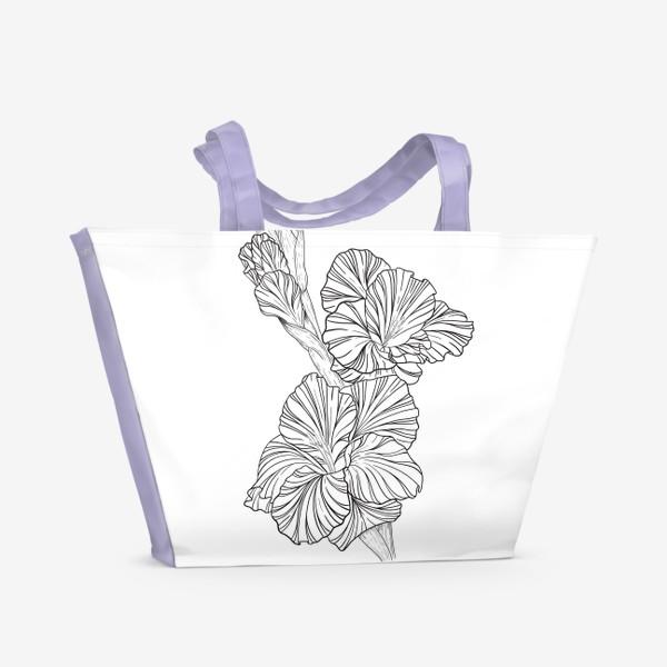 Пляжная сумка «Гладиолусы. Графика.»