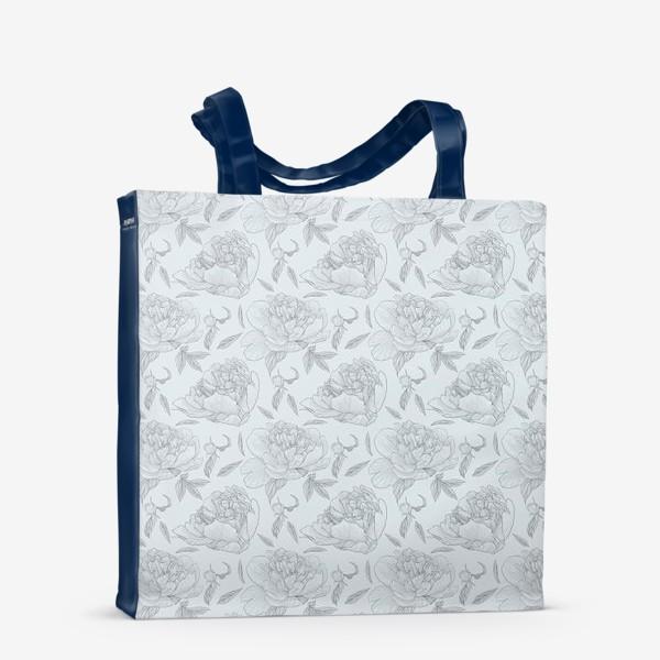 Сумка-шоппер «пион голубой фон»