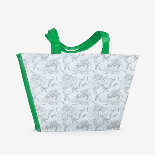 Пляжная сумка «пион голубой фон»