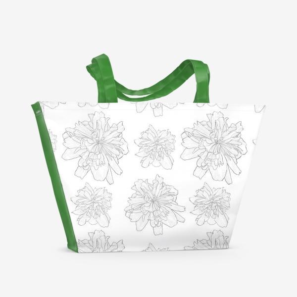 Пляжная сумка «пион крупный цветок»