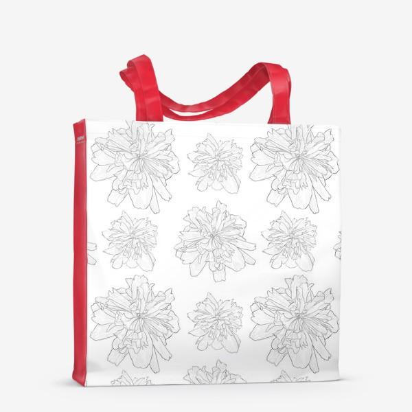 Сумка-шоппер «пион крупный цветок»
