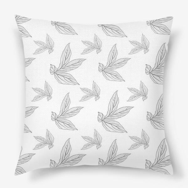 Подушка «листья пиона »