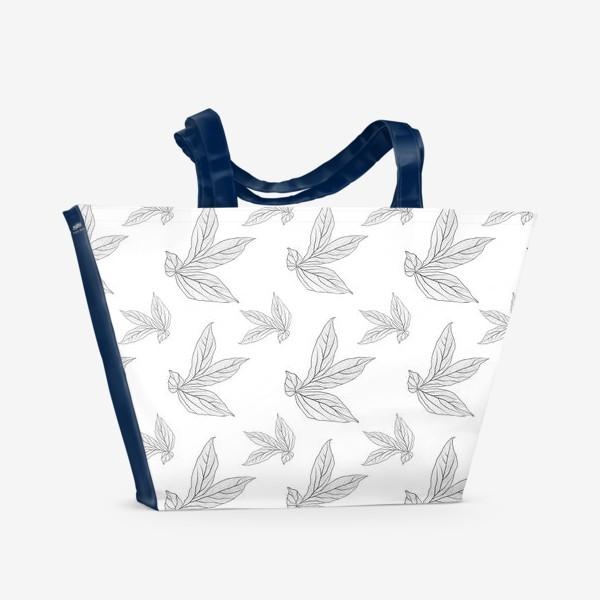 Пляжная сумка «листья пиона »