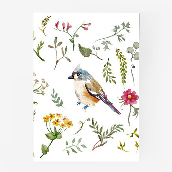 Постер «Птица счастья в листьях, текстура»
