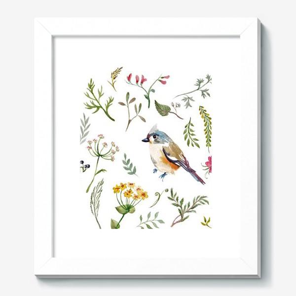 Картина «Птица счастья в листьях, текстура»