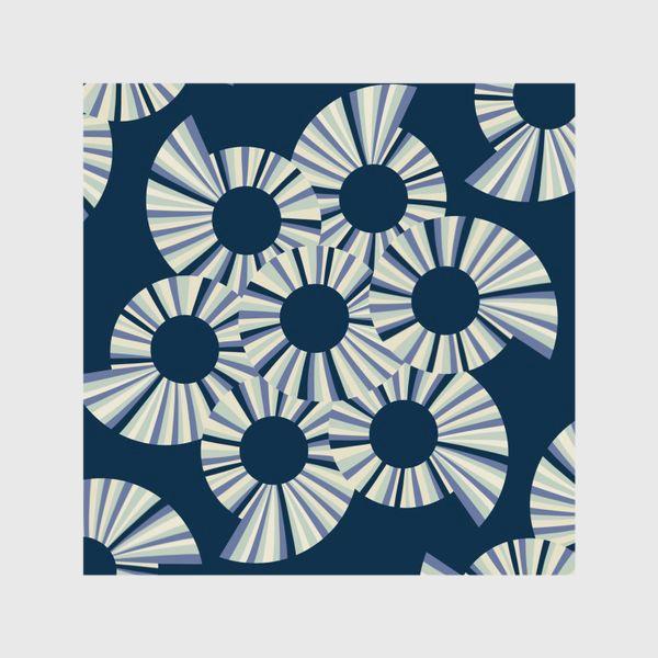 Шторы «Абстрактные круги на темно синем фоне»