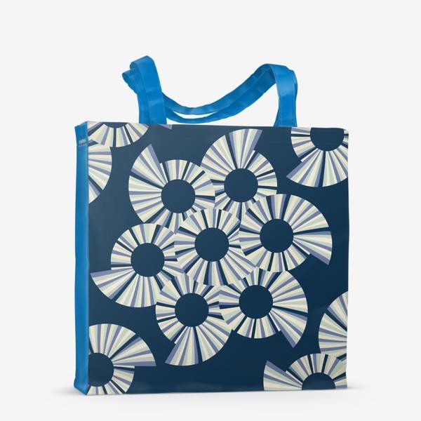 Сумка-шоппер «Абстрактные круги на темно синем фоне»