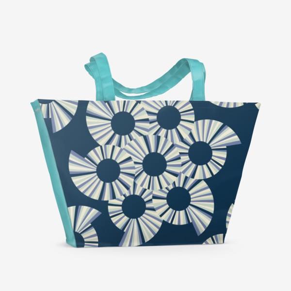 Пляжная сумка «Абстрактные круги на темно синем фоне»