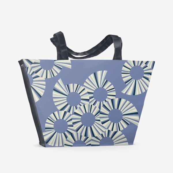 Пляжная сумка «Абстрактные круги на пыльно сиреневом фоне»