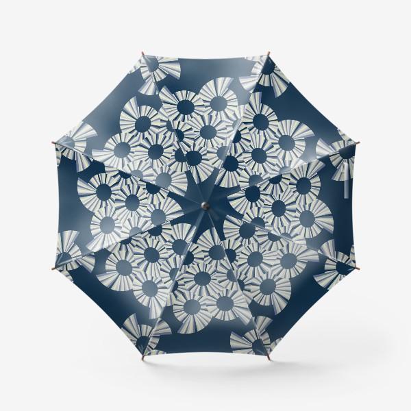 Зонт «Абстрактные круги на темно синем фоне»
