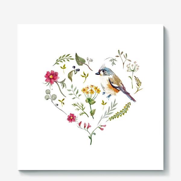 Холст «Птица любви в сердце»