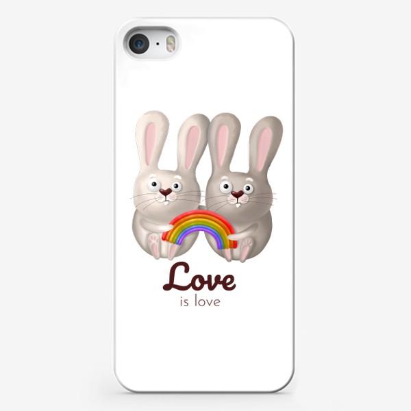 Чехол iPhone «ЛГБТ радуга, зайчики, любовь, love is love, 14 февраля, день влюблённых. Принт для гомосексуалов, лесбиянок, геев»