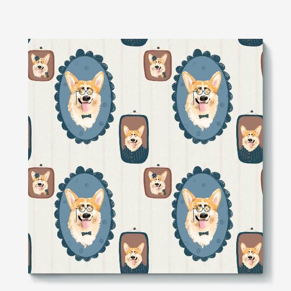 Холст «Корги. Подарок собачнику. Маленькая рыженькая собачка. Паттерн. Портрет собаки. Corgi. Милая собака вельш корги пемборк»