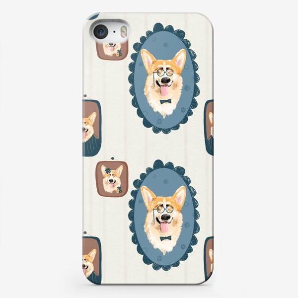 Чехол iPhone «Корги. Подарок собачнику. Маленькая рыженькая собачка. Паттерн. Портрет собаки. Corgi. Милая собака вельш корги пемборк»