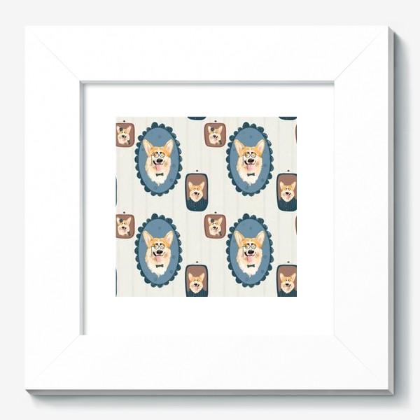 Картина «Корги. Подарок собачнику. Маленькая рыженькая собачка. Паттерн. Портрет собаки. Corgi. Милая собака вельш корги пемборк»