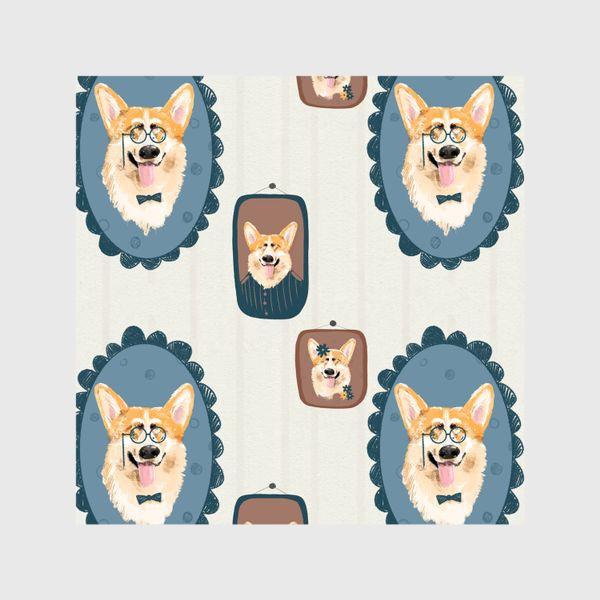 Шторы «Корги. Подарок собачнику. Маленькая рыженькая собачка. Паттерн. Портрет собаки. Corgi. Милая собака вельш корги пемборк»