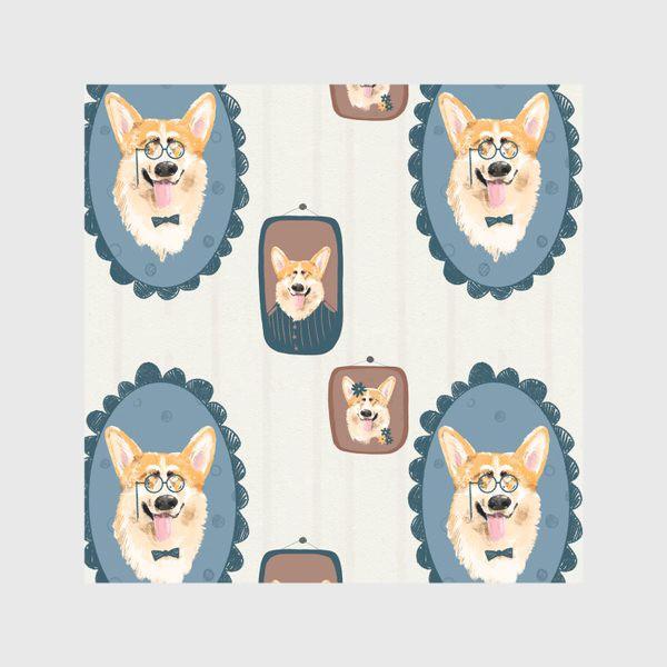 Скатерть «Корги. Подарок собачнику. Маленькая рыженькая собачка. Паттерн. Портрет собаки. Corgi. Милая собака вельш корги пемборк»