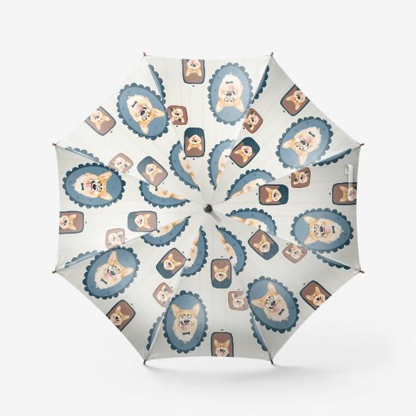Зонт «Корги. Подарок собачнику. Маленькая рыженькая собачка. Паттерн. Портрет собаки. Corgi. Милая собака вельш корги пемборк»