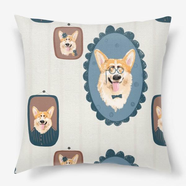 Подушка «Корги. Подарок собачнику. Маленькая рыженькая собачка. Паттерн. Портрет собаки. Corgi. Милая собака вельш корги пемборк»